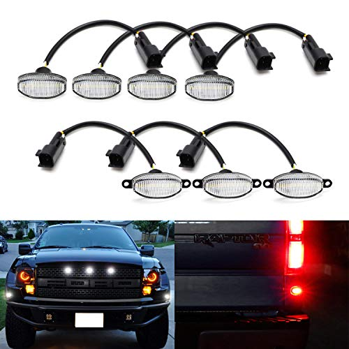 iJDMTOY Complete 7-Piece Clear Lens 84-SMD LED Grille Running Lights and Front/Rear Side Marker Lights For 2010-2014 Ford Raptor (Front White, Rear Red) - Ford F150 Front Side Marker