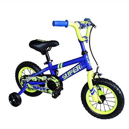 OTLIVE Kids Bike for Boys with Training Wheels 12 inch BMX Street Dirt Children's Bicycle Blue