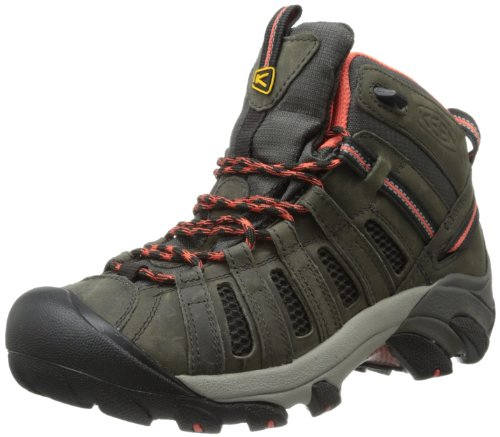 UPC 887194176854, KEEN Women's Voyageur Mid Hiking Boot,Raven/Hot Coral,5.5 M US
