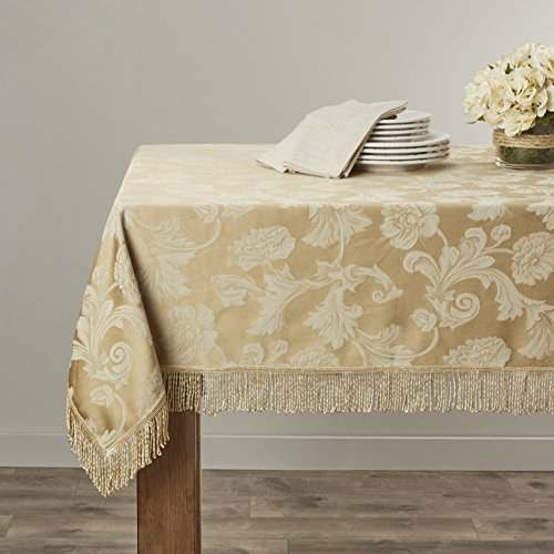 Violet Linen Classic Damask Design Fringes Tablecloth, 90
