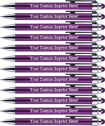 - Personalized Pens with Stylus Tip -Bright Lights- Click action - Custom - Black writing - Printed Name pens - Imprinted with Your Logo or Message - FREE PERSONALIZATION - 12 Pens/Box (Purple)