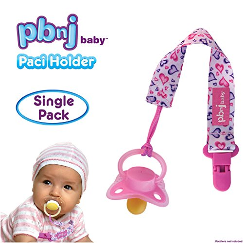 PBnJ baby Pacifier Clip Holder Strap Leash Tether for Boys and Girls with Safe Plastic Clip (Hearts - Single) - Avent Soothie Pacifers