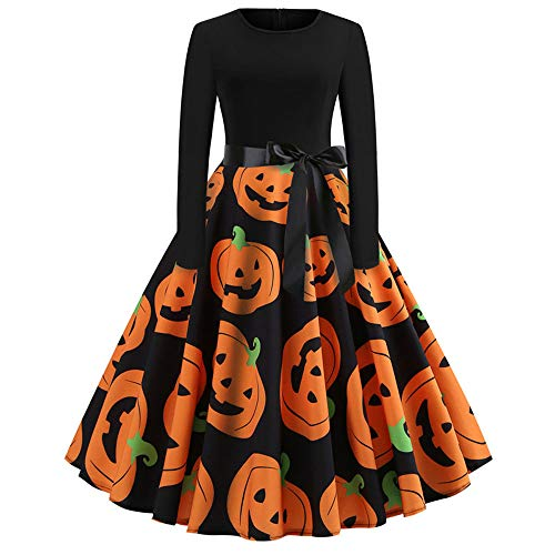 ThsiJJ Womens Halloween Dresses Pumpkin A-line Swing Dress Retro Elegant Orange Masquerade Dress Long Sleeve Costume -