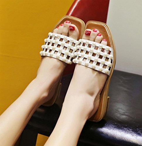 Word-Pantoffeln weiblichen rutschfeste flache Sandalen und Pantoffeln Perle Mode Sandalen und Pantoffeln Wohnung mit Studenten white