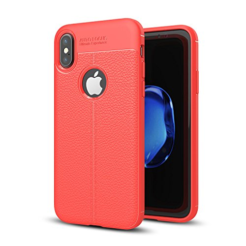 Price comparison product image iPhone X Case,iPhone X Armor Case,DAMONDY 3D Skin Painting Non Slip Armor Shock Absorption Carbon Fiber Texture Soft Full Protection Phone Case for Apple iPhone 10 2017 5.8 inch-Red
