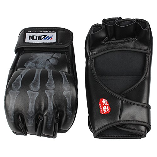Andux Land Boxing Gloves PU Leather Half Finger Kung Fu Fighting Muay Thai Martial Arts Training Gloves SDST-01, 1 pair (Black)