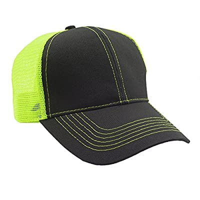 Opromo Plain Two Tone Cotton Twill Mesh Hat Adjustable Trucker Baseball Cap