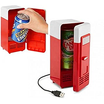 Neon Portable USB Powered Mini Fridge Cooler And Warmer Can Refrigerator  For Beverage, Drink,