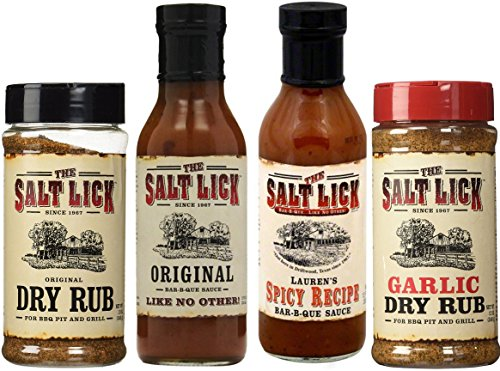 [Salt Lick Favorites Assortment, one each of Original Dry Rub, Original Sauce, Spicy Sauce and Garlic Dry Rub] (Dry Sauce)