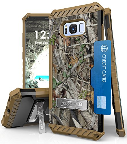 Galaxy S8+ Case, Autumn Camouflage Tree CAMO Real Woods TRI-Shield Rugged CASE Cover with Magnetic Kickstand + Lanyard Strap + Credit Card Wallet Slot for Samsung Galaxy S8 Plus Phone (SM-G955), S8+ 1 COMPATIBILITY: