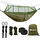 IDEALUX Camping Hammock with Net - Lightweight Portable Double Parachute Hammocks - Made of 210T Nylon High Capacity and Tear Resistance - Perfect for Hammock Camping, Backyard Relaxation