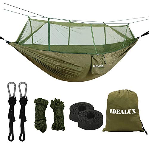 Double Parachute Camping Hammock with Mosquito Net,High Capacity and Tear resistance with 2 Adjustable Slings,Lightweight Portable 210T Nylon Hammocks for Backpack, Camping, Travel (Army green)