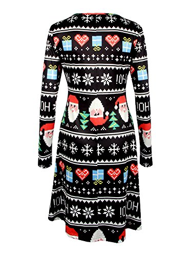 Flared Dress Maniche Donne Swing Natale Regali Cocktail di Abito Partito Stile Gufo Le Lunghe Vestito Christmas Minetom 3 Stampa Stampa 7A14f7