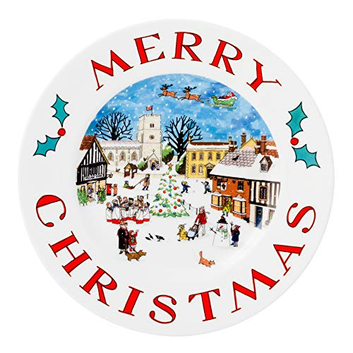 (Alison Gardiner Famous Illustrator - Merry Christmas Cookie Plate Fine Bone China - Premium Quality and Detail)