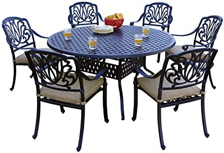 Darlee 7 Piece Elisabeth Cast Aluminum Dining Set with Sesame seat Cushions and 60 Round Dining Table, Antique Bronze Finish