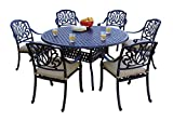 "Darlee 7 Piece Elisabeth Cast Aluminum Dining Set with Sesame seat cushions and 60"" Round Dining Table, Antique Bronze Finish"