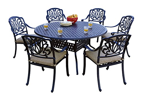 "Darlee 7 Piece Elisabeth Cast Aluminum Dining Set with Sesame seat cushions and 60"" Round Dining Table, Antique Bronze Finish For Sale"