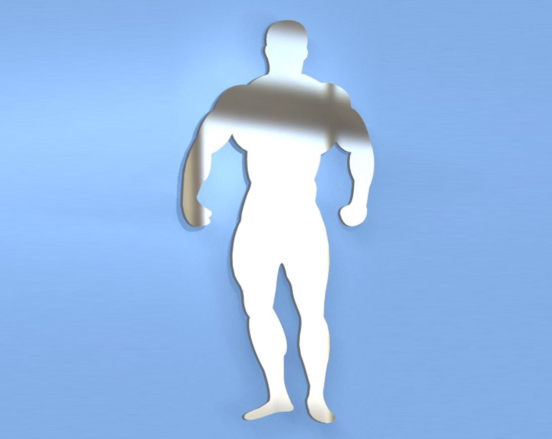 Bodybuilder Mirror - Available in various sizes, including sets for crafting kits - 50cm x 25cm