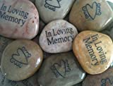 Memory Stones with Heart and Angel Wings (Set of 25) – Funeral Favors or Gifts, In Loving Memory Engraved Rocks. For Celebration of Life or Memorial Service. For Sale
