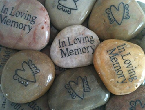 (Memory Stones with Heart and Angel Wings (Set of 25) - Funeral Favors or Gifts, In Loving Memory Engraved Rocks. For Celebration of Life or Memorial Service.)