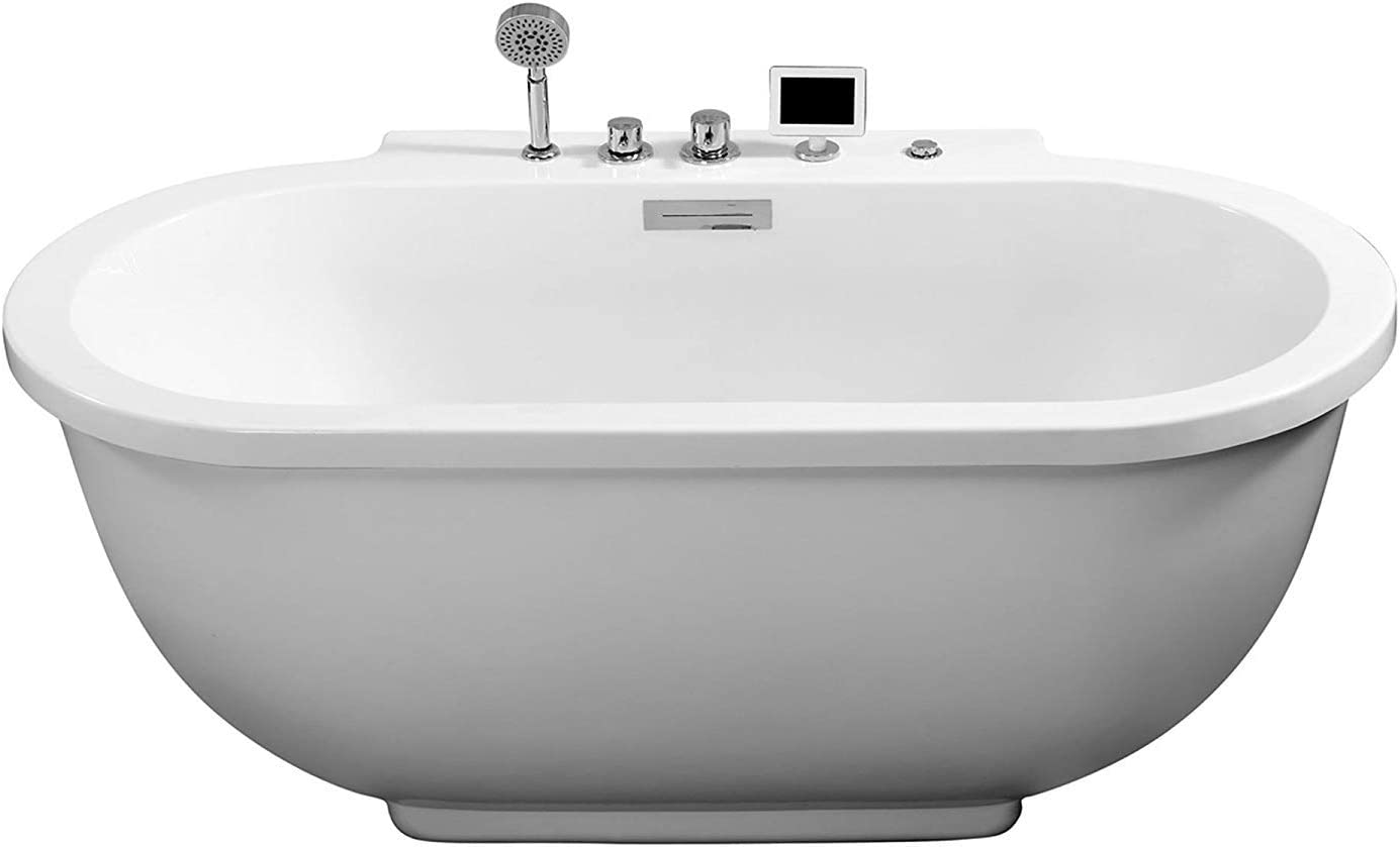 "ARIEL Whirlpool Bathtub - Oval Shape Design in White   Deep Soaking Comfort   Hydro Massage 14 Jets   Center Drain   Blue Tooth Radio   70.8"" x 37"" x 29.1"""