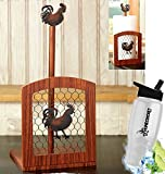 Gift Included- Farmhouse Country Kitchen Rooster Rustic Countertop Essentials + FREE Bonus Water Bottle by Homecricket (Rooster Paper Towel Holder)
