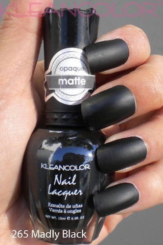 Kit Polish And Black Lipstick Nail (Kleancolor Nail Polish # 265 Madly Black Nail Lacquer Matte)