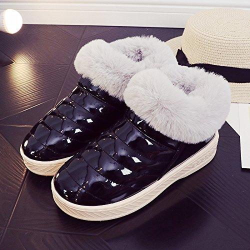 Inverno fankou cotone pantofole pacchetto femmina con un soggiorno al coperto e gli amanti della vita all'aperto caldo antiscivolo scarpe di cotone uomini e ,40/41, nero