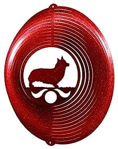 WELSH CORGI PEMBROKE Circle Swirly Metal Wind Spinner