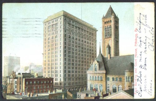 Frick Building & Court House Pittsburgh PA undivided back postcard -