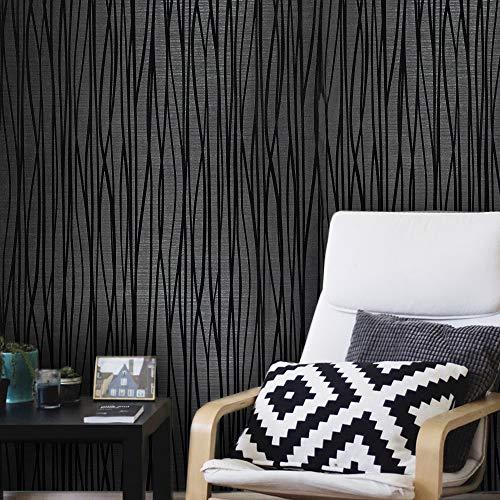 76 sq.ft rolls Portofino wallcoverings modern embossed flocked Vinyl Non-Woven Wallpaper charcoal black silver metallic flocking flock lines soft velvet waves textured coverings 3D paste the wall only (Flocked Wallpaper Damask)