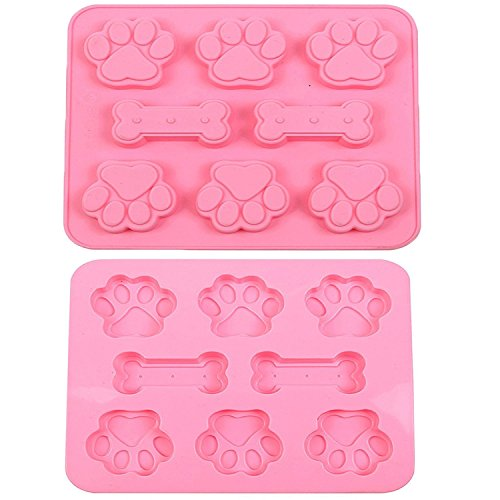 MANSHU Paw Mold and Dog Bone Mold Silicone Baking Molds 2pcs Biscuits Mold Muffin Mold, Hard Candy Mold, Chocolate Cookies Molds for Pets and Kids.