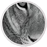 Pixels Round Beach Towel With Tassels featuring ''Lioness Close-up Tanzania Africa'' by Pixels