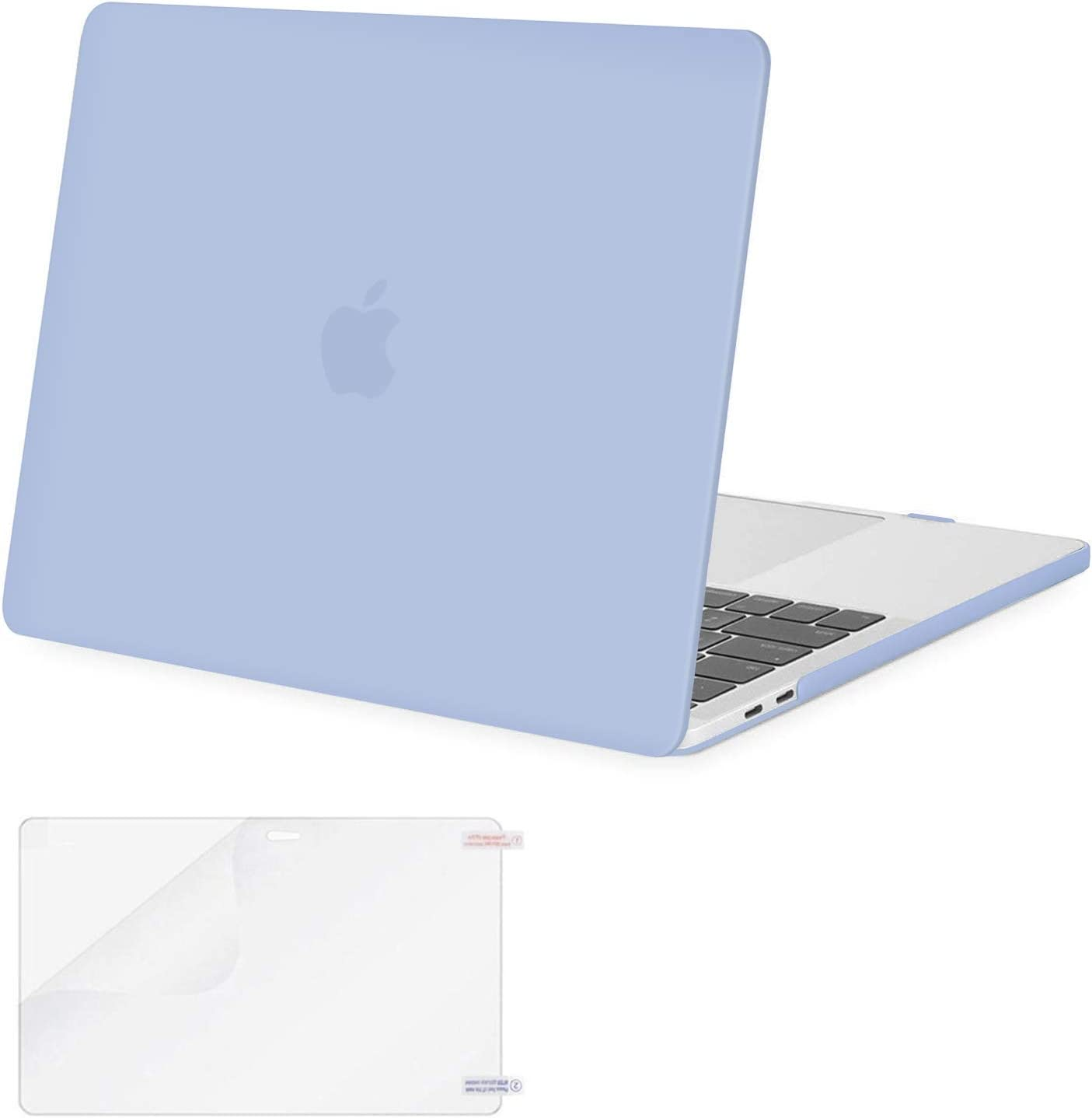 MOSISO MacBook Pro 13 inch Case 2019 2018 2017 2016 Release A2159 A1989 A1706 A1708, Plastic Hard Shell Case&Screen Protector Compatible with MacBook Pro 13 inch with/Without Touch Bar, Serenity Blue
