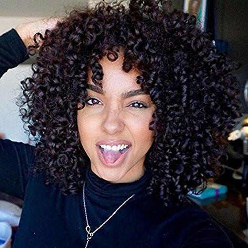 Synthetic Afro Curly Hair Wigs for Black Woman Short Kinky Hair Jet Black Heat Resistance Fiber 14