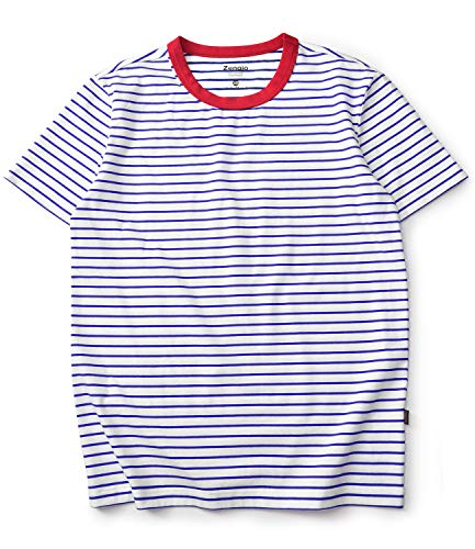 - Zengjo Stripe Shirt Men Short Sleeve Crew Neck Striped Cotton T Shirt Men(M, White/Blue)