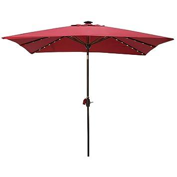 Amazon Com Sorara Patio Umbrella With Solar Powered Rectangular