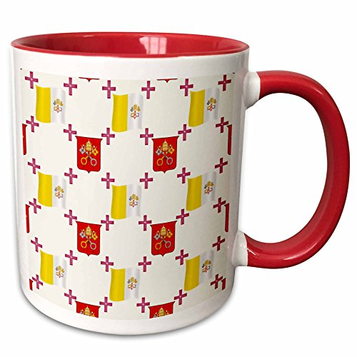 3dRose 777images Country Patterns - The flag and Coat of Arms of the Vatican City State on a light creme background - 15oz Two-Tone Red Mug (mug_114180_10)