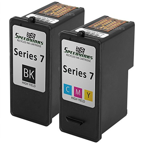 Speedy Inks - Remanfactured Dell Series 7 HY GR274 GR277 Set of 2 Ink Cartridges 1 Black 1 Color for use in Dell Photo all-in-one 966, Dell Photo all-in-one 968, (968 Photo Ink)