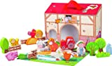 HABA On the Farm Large Portable Take Along Play Set with 22 Wooden Pieces (Made in Germany)