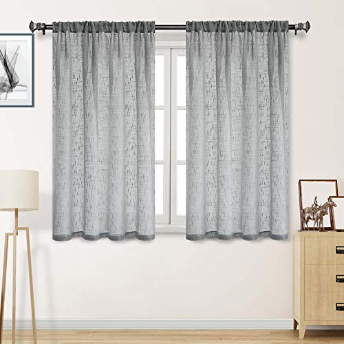 DWCN Grey Sheer Curtains - Faux Linen Textured Weave Rod Pocket Living Room Semi Voile Sheer Curtains, Set of 2 Window Curtains Panels, 52 x 45 Inches