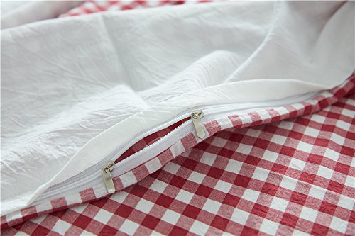 HIGHBUY Soft Cotton Embroidery Floral Twin Duvet Cover Sets White for Women Girls Reversible Red Geometric Grid Kids Bedding Sets Twin Children Single Bed Comforter Cover with Zipper Closure,Twin by HIGHBUY (Image #5)