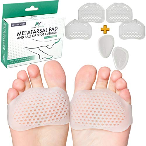 Premium Metatarsal Pads for Men and Women- Best Quality Gel Pad- Ball of Foot Cushions- Cushion Pads for Mortons Neuroma, Calluses, Front of Foot Pain. Metatarsalgia Pain Relief.