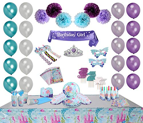 Bubba & Bailey Mermaid Party Supplies for 19 Guests! 243pcs incl Sash and Tiara Mermaid Birthday Outfit for Girls, Under The Sea Decorations, Mermaid Party Favors, Cake Topper, Tablecloth, Plates etc