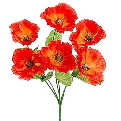 Amazon 125 silk poppy flower bush flame pack of 24 home 125quot silk poppy flower bush flame pack mightylinksfo