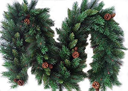 Artificial Christmas Garland.Best Artificial 12ft 3 6m Luxury Christmas Garland With 20 Pine Cones Indoor Xmas 290 Tips
