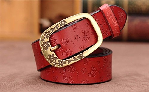 Calfskin Reversible Belt - LIUXINDA-YD Fashionable Woman Simple Decorative Strip in Calfskin Belt red 110CM Please Choose The Size That Suits You Before Purchase,