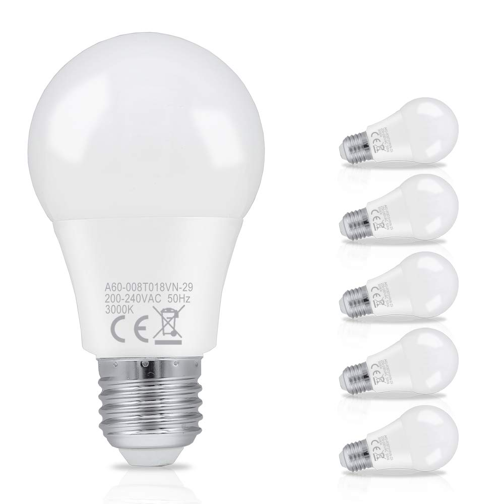 Hengda 8W A60 Bombilla LED esférica E27 ,equivalente a 60W, Blanco cálido 3000K,
