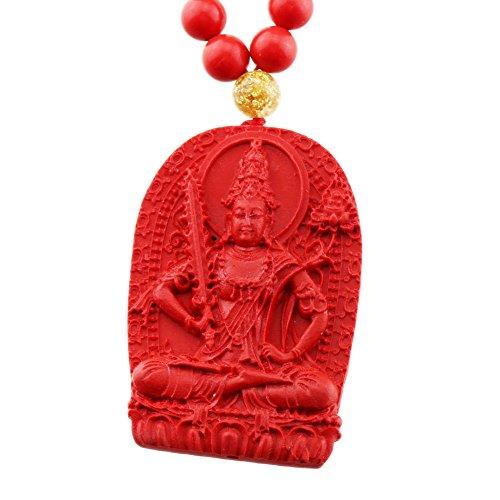 FOY-MALL Fashion Cinnabar Akashagarbha Buddha Pendant Necklace XL1338M]()