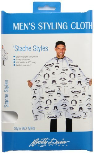 Betty Dain Stache Styles Men's Hair Cutting Cloth, White, 8 Ounce by Betty Dain
